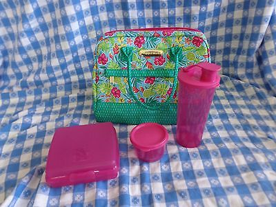 New TUPPERWARE Tropical Glamour 4~PC Insulated Lunch Bag Tumbler Sandwich Keeper