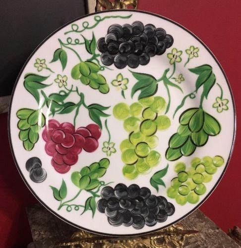 I Godinger & Co Grape Serving Or Dinner Plate Porcelain 10.5