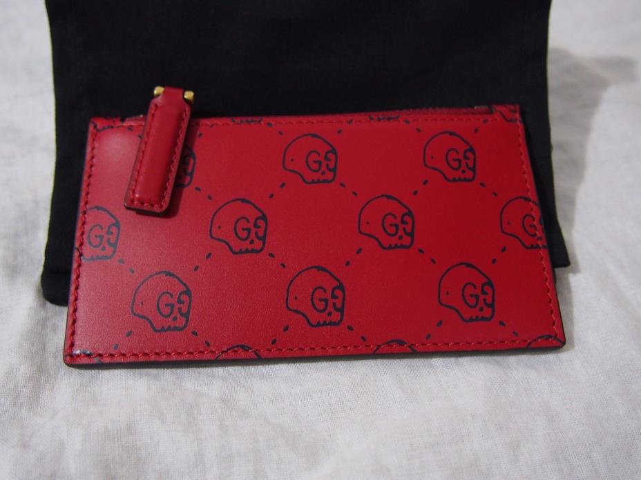 GUCCI Ghost Skull Leather Zippered Card Case