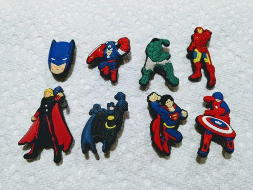 Superhero Superman Batman Captain Iron Thor Hulk  logo shoe charm like jibbitz
