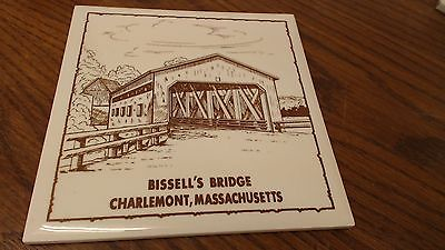 Bissel's Covered Bridge Charlemont  MA Tile Trivet VINTAGE  #26