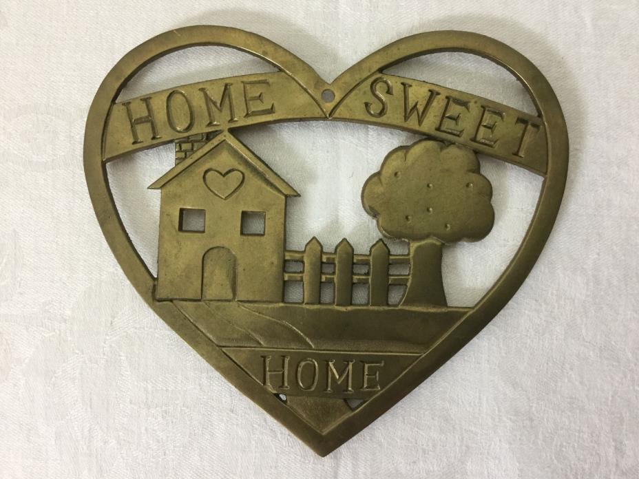 Home Sweet Home Brass Trivet Upper Deck 1987 Kitchen Wall Decor # kt160 Vintage