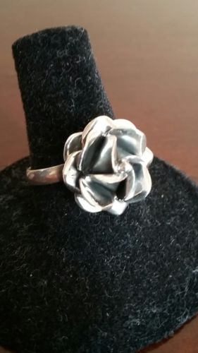Ericks Sterling Silver Rose Ring Taxco.925