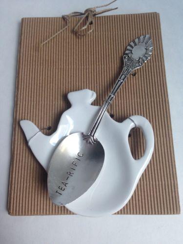 Tea Bag Holder Rest and Spoon TEA-RIFIC Set, Tea Drinker, Vintage-Inspired Spoon