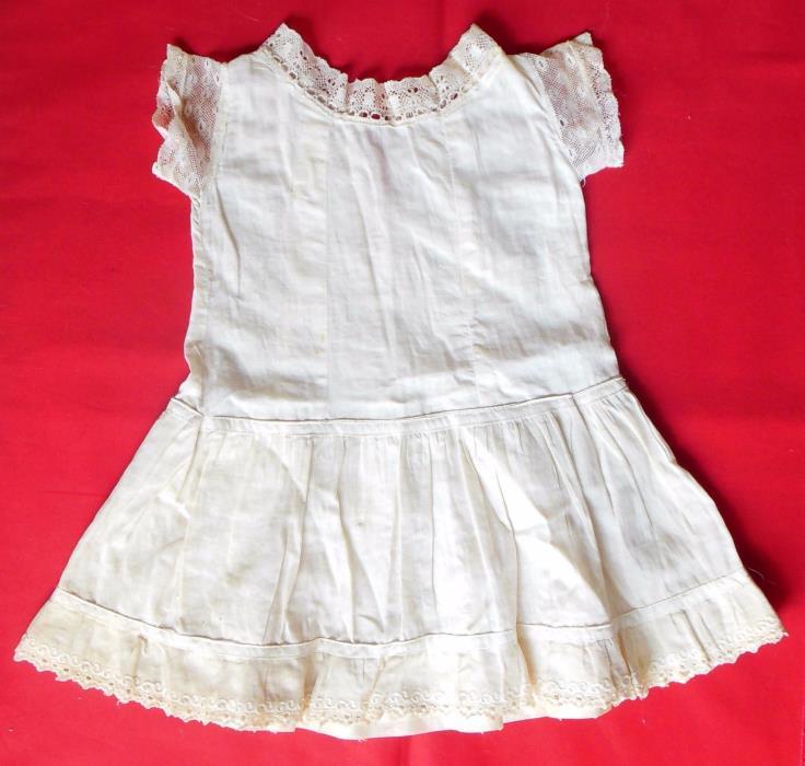 "Antique 1900s Off-White Cotton Drop Waist Dress Fits 21-23"" Compo Body Doll"