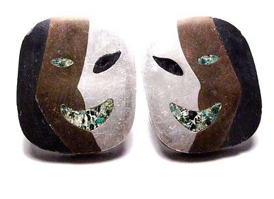VINTAGE MEXICO MIXED METALS MOD FACE PIERCED EARRINGS SIGNED