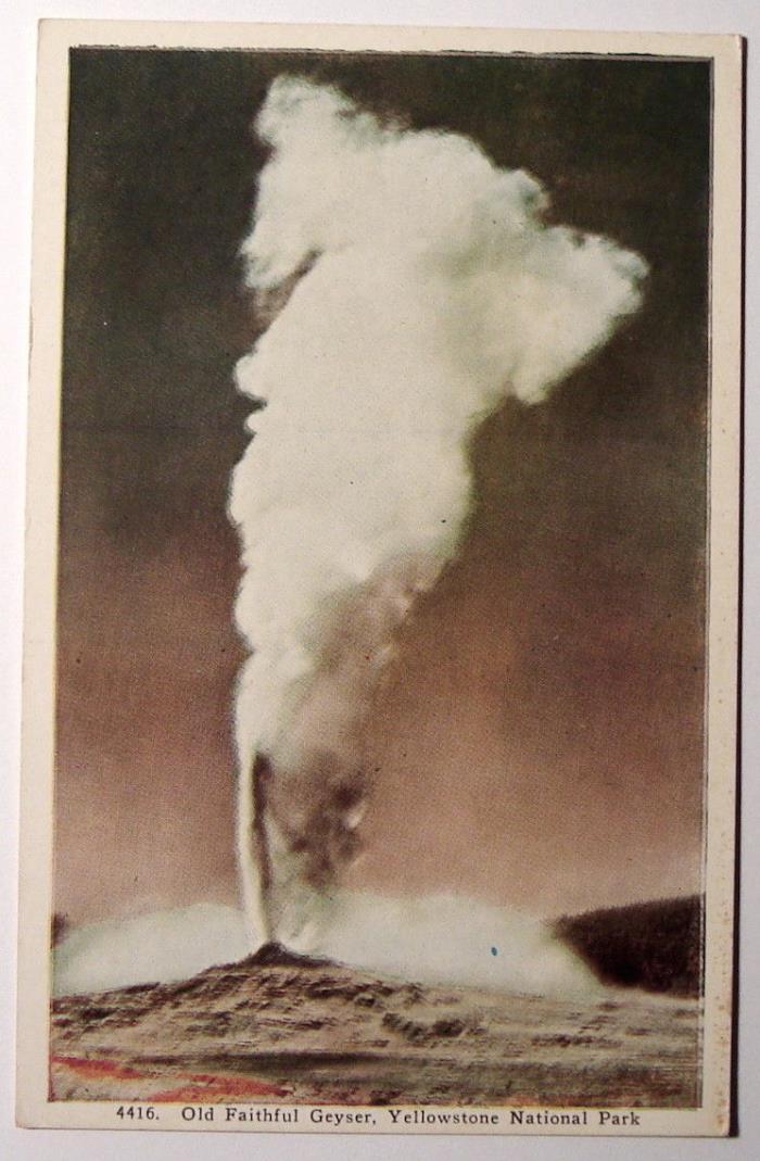 Yellowstone National Park Old Faithful Geyser c1920 vintage postcard