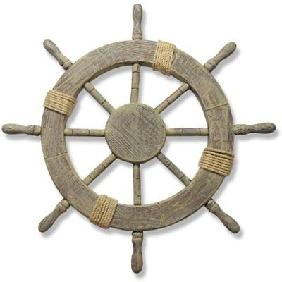 Ornamental Wall Decoration Wooden Nautical Ship Steering Wheel, 24-Inch, Brown