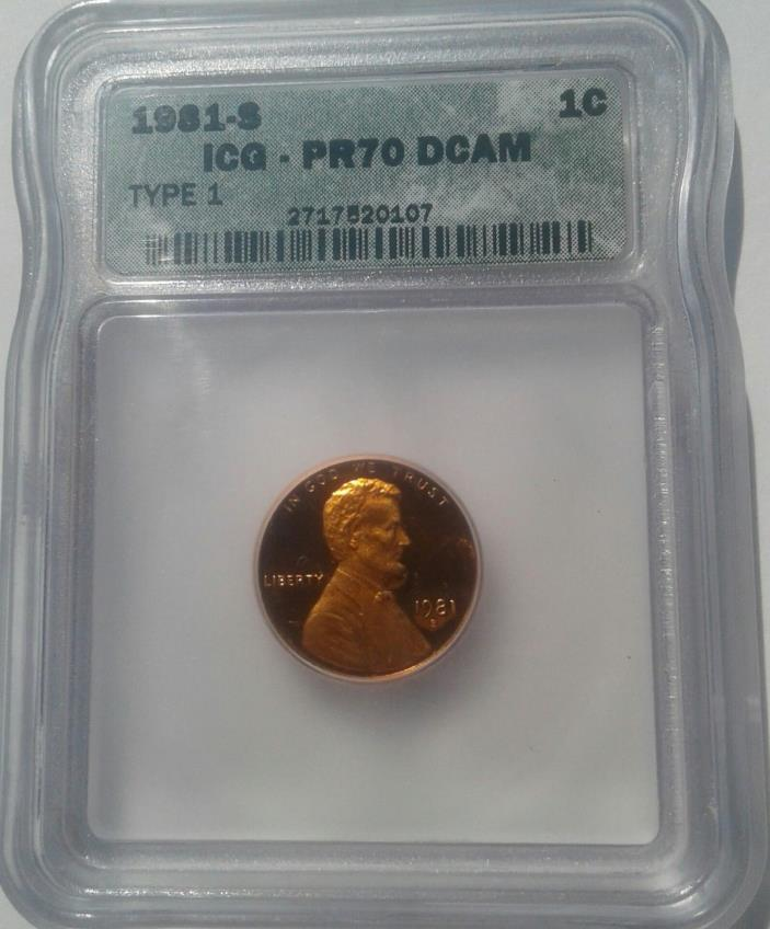 1981-S Lincoln Cent Proof PR70 DCAM Deep Cameo Cerified by ICG Type 1 *Top Pop*
