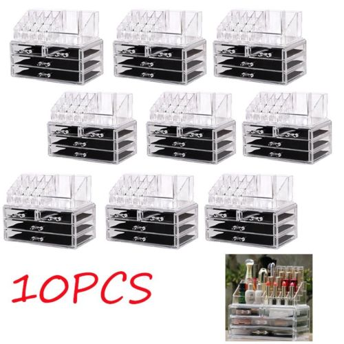 10 X Cosmetic Holder Large 4 Drawer Jewelry MakeUp Acrylic Case Organizer Kit AS