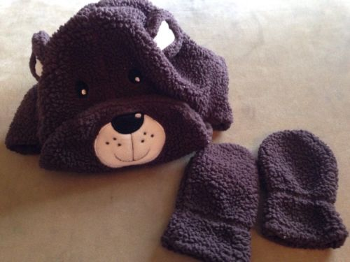 Osh Kosh B'Gosh Baby Boy Infant  3-9 Months Soft Hat Mitten Set Soft Brown