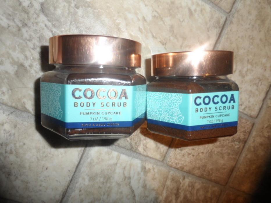 LOT OF 2 Bath & Body Works Pumpkin Cupcake 7oz cocoa body scrub wash
