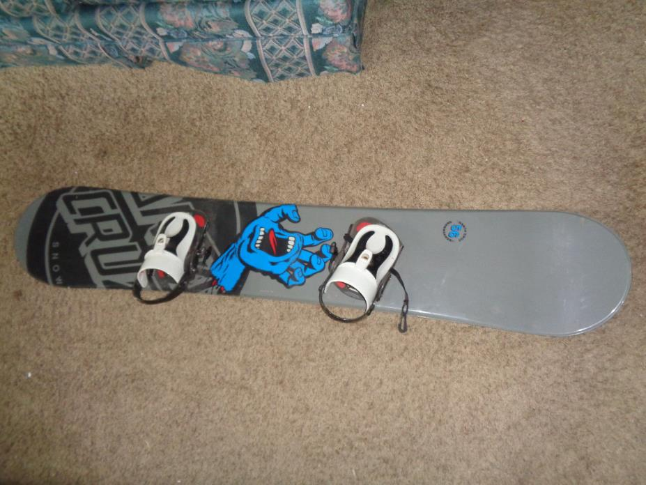 SC Santa Cruz 56 snowboard screaming hand logo grey Sz 156