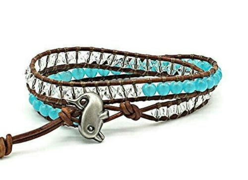 jade beaded genuine leather wrap dolphin bracelet