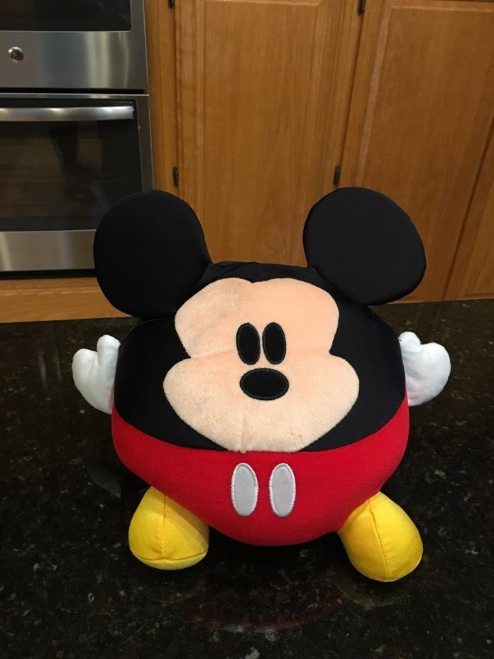 "Disney Parks Big 12"" Round Mickey Mouse Micro Bead Pillow Plush"