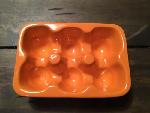 Nice Orange Ceramic Egg Carton Egg Holder Holds 6 Eggs