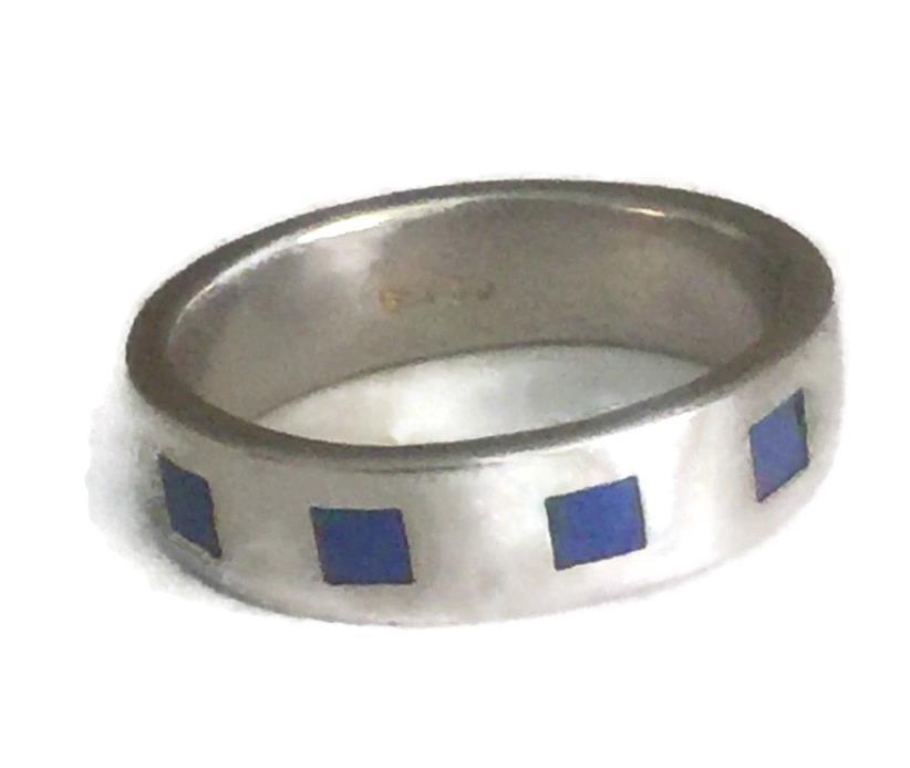 Vintage Sterling Silver Southwest Blue Lapis Handmade Ring Band Size 7 5g