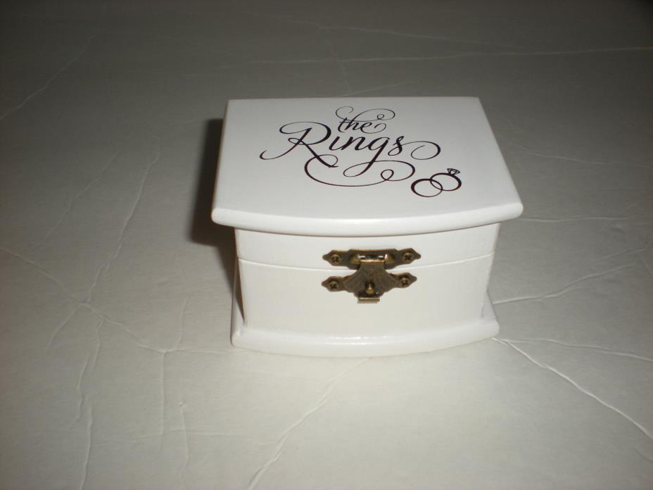 Lillian Rose White Wood Wedding Ring Bearer Box Holder NEW