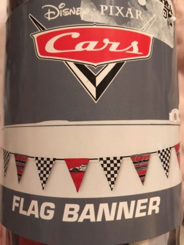Disney Pixar Cars Fabric Lightning McQueen Flag Banner Room Decor Birthday Party