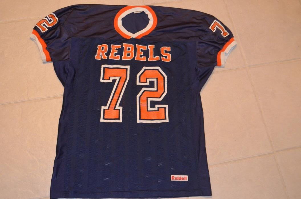 vtg REBELS XL football jersey game worn Riddell USA made college high school