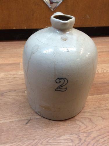 Antique Salt Glazed #2 Crock Jug Stoneware