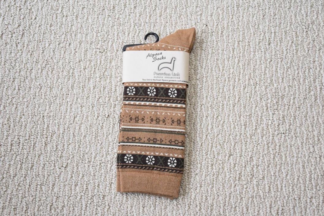 New Alpaca Crew Socks Brown Puruvian Made Small- Med Mens Womens