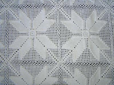 Vintage Heirloom Crochet Banquet Tablecloth 8 pt Snowflake pattern 57
