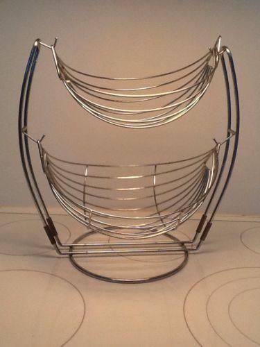 2 Tier Fruit Vegetables Chrome Basket Double Hammock Display