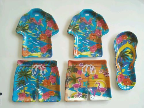 Vintage 90s Hawaiian Melamine PLATES Tropical Shorts Shirt Thong Flamingo Surf