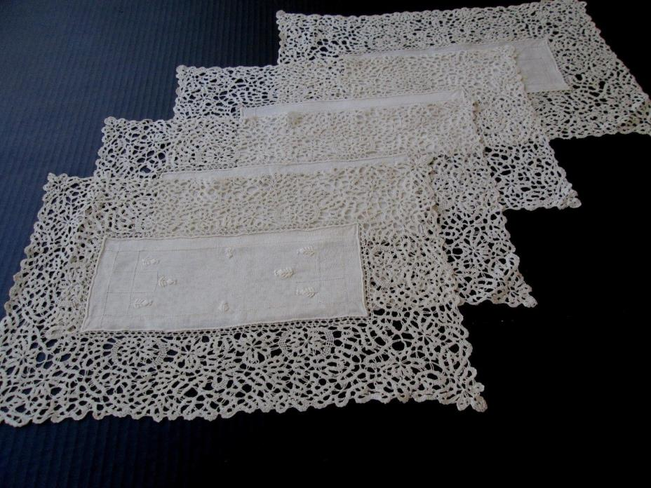 FOUR ANTIQUE LINEN AND CANTU BOBBIN LACE PLACEMATS W/ HAND EMBROIDERY