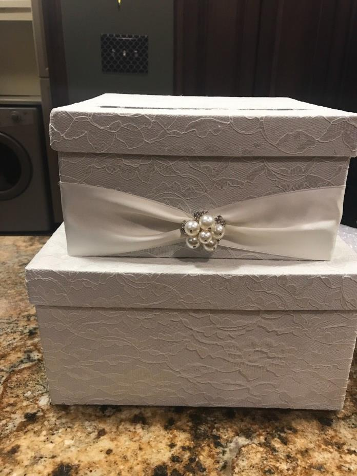 Wedding gift card box with matching program box, ivory with lace, ELEGANT