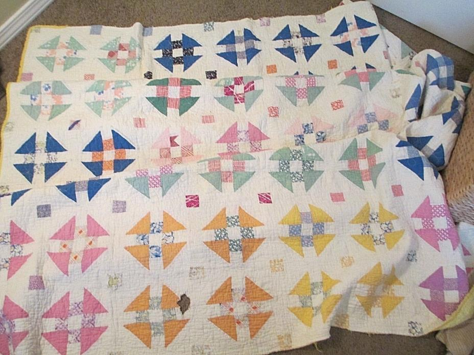 Vintage Quilt Cutter 40's Cotton Stained Holes Squares Triangles