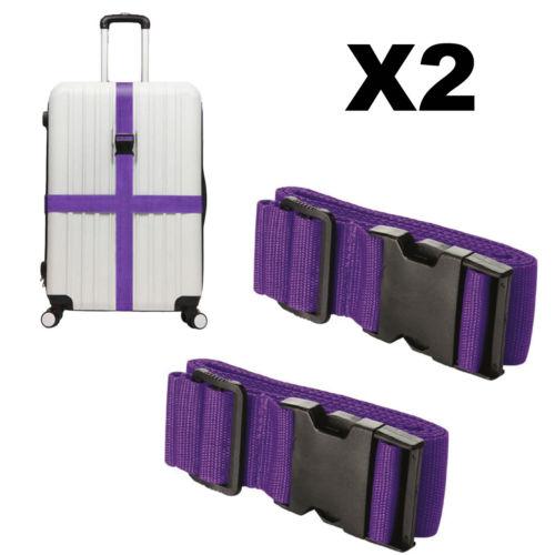 2X Adjustable Travel Luggage Straps Suitcase Packing Belt Protective Band Purple