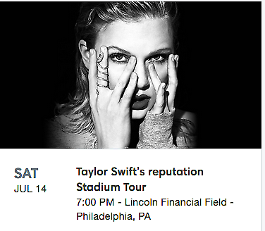 2 VIP Package Tickets-Taylor Swift Concert in Philadelphia, PA July 14 7/14/18
