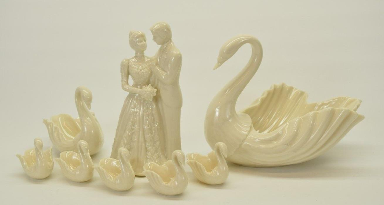 LENOX WEDDING CAKE TOPPER & 7 LENOX SWANS