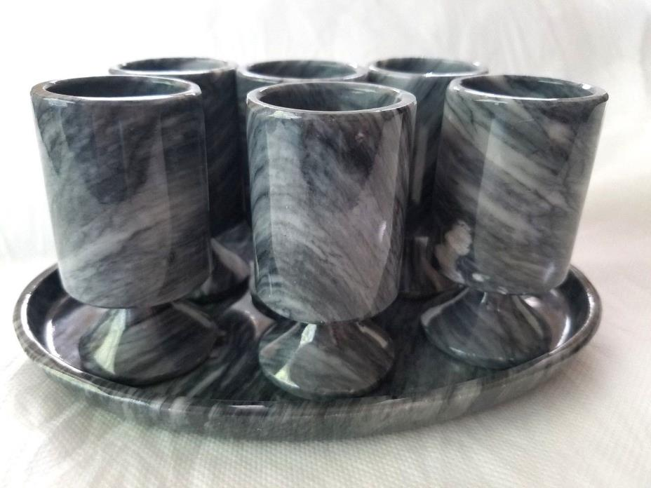 VTG Tequila Carved Black Marble Tray Footed Set of 6 Marble Shot Cordial Glasses