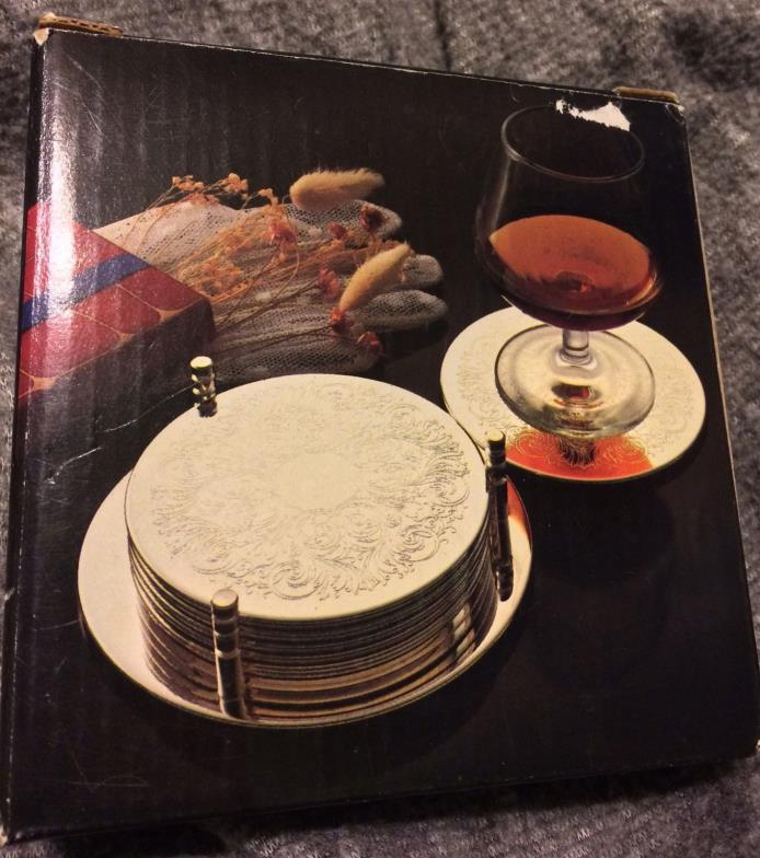 7 PC Silver Plated Coaster Set with Caddy/Holder, Vintage New in Box, Hong Kong