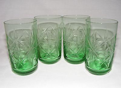 VINTAGE ART DECO CZECH BOHEMIAN CUT GLASS GREEN TUMBLER GLASSES SET OF 4