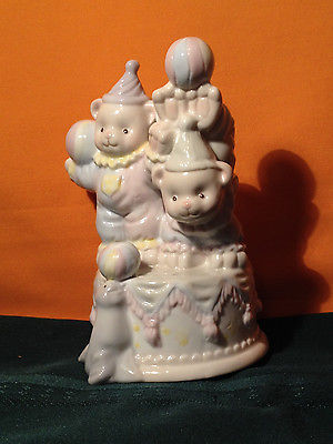 Porcelain Music Box Teddy Bear Circus Clowns and Seal - Plays Beautiful Dreamer