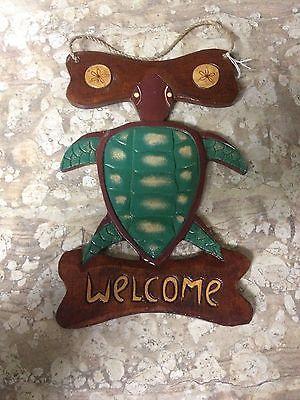 NEW 7x12 Wood Sea Turtle & Sand Dollar Welcome sign-lake-beach-ocean-nautical