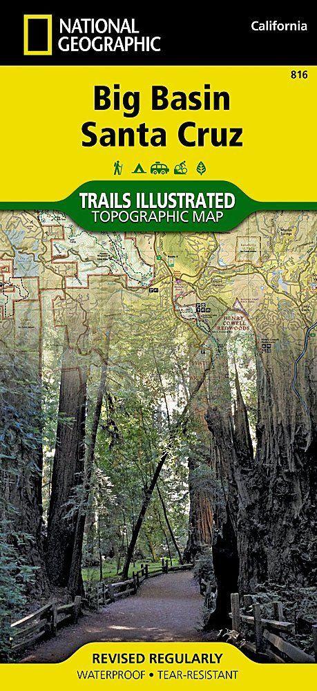 National Geographic Big Basin Santa Cruz Trails Illus Topo Map - CA - Map # 816