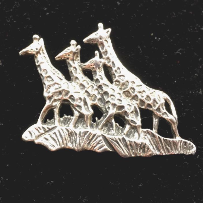 Giraffes 925 Mexico Sterling Silver  Giraffe Brooch Pin Africa Wildlife  Vtg .