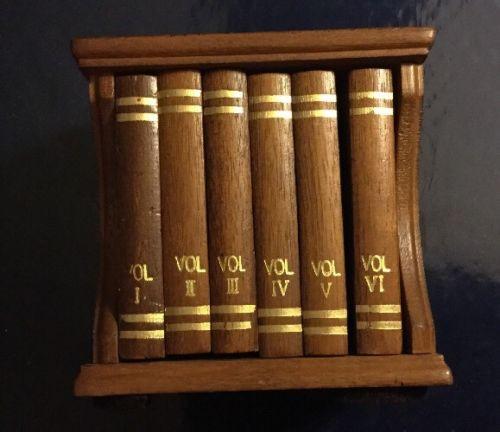 Vintage Wood Cork Set of 6 Book Case Coffee Table Drink Coasters Holder Brown
