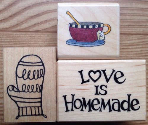 Lot of 3 Rubber Stamps Debbie Mumm Tea Cup PSX Love Is Homemade D-3286
