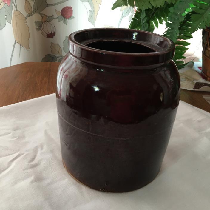 Vintage Brown Stoneware Pottery Crock 6-1/2