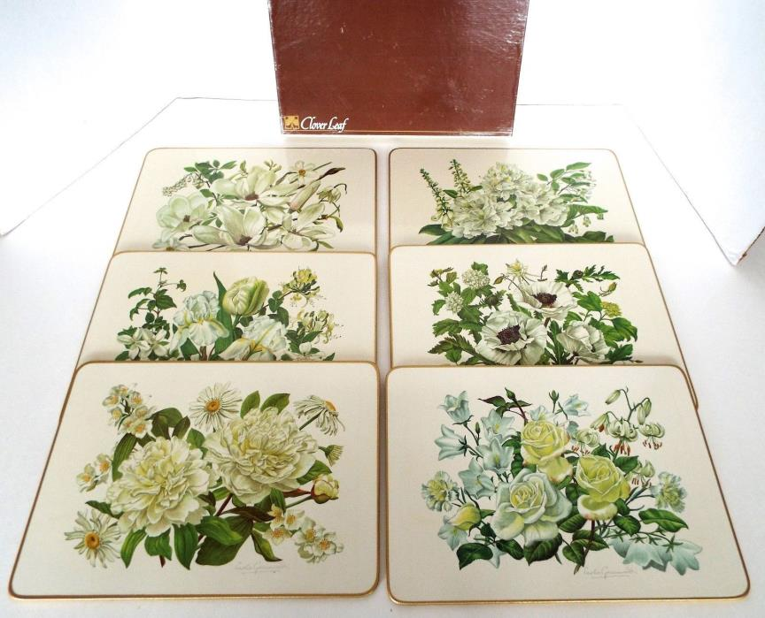 6 Magnolia Floral Blossom Table Mats Trivets By Leslie Greenwood Clover Leaf UK