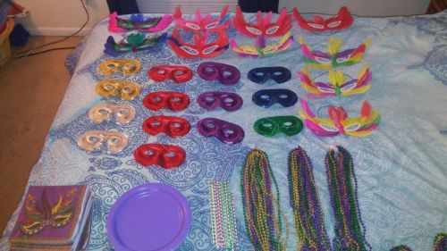 mardi gras party  supplies large lot masks, beads, napkins, plates, straws