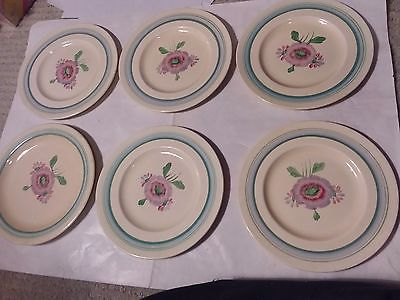 6 DISHES  - CLARICE CLIFF - 6 1/2 INCHES