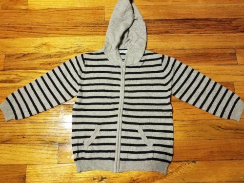 Bout'chou Toddler Boy Gray Navy Striped Elbow Patch Zipper Hoodie 36M