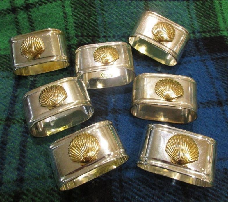 Lucky Seven (7) Silverplate with Brass Sea Shells Napkin Rings Gently Pre-Owned